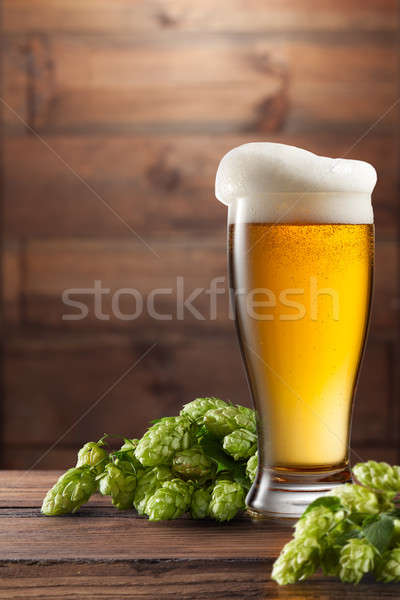 keg of beer and hops. Stock photo © artjazz
