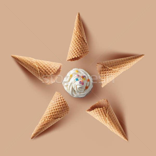Wafel vanille ijs beige voedsel achtergrond Stockfoto © artjazz