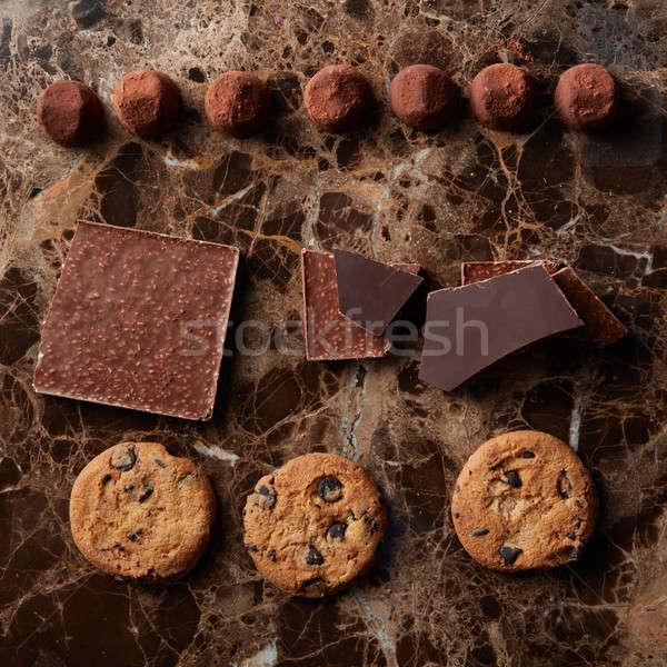 Chocolate chip cookies and chocolates Stock photo © artjazz