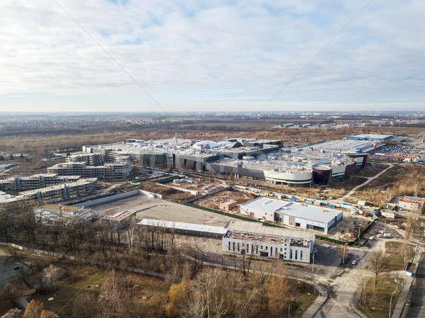 Légifelvétel befejezetlen épületek város Ukrajna fotó Stock fotó © artjazz