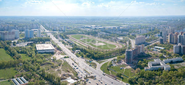 Panoramic aerial view from the drone, a view of the bird's eye view of the Central Hippodrome of Ukr Stock photo © artjazz