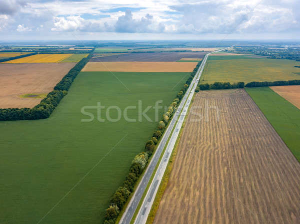 Aerial view from drone of road through beautiful green field in the evening in summer. Stock photo © artjazz