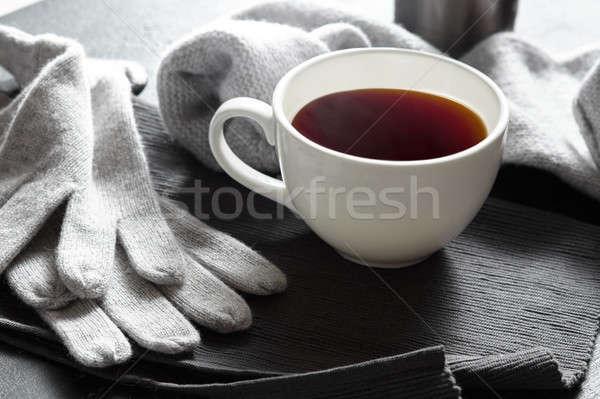 Cozy warming fall autumn or winter cold season scene. Stock photo © artjazz