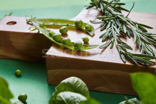 Zöld organikus tiszta zöldségek rozmaring zöldborsó Stock fotó © artjazz