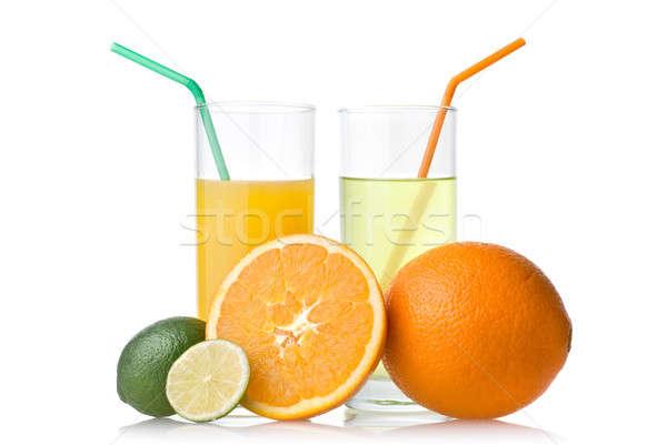 Wapno sok pomarańczowy pomarańczowy odizolowany biały żywności Zdjęcia stock © artjazz
