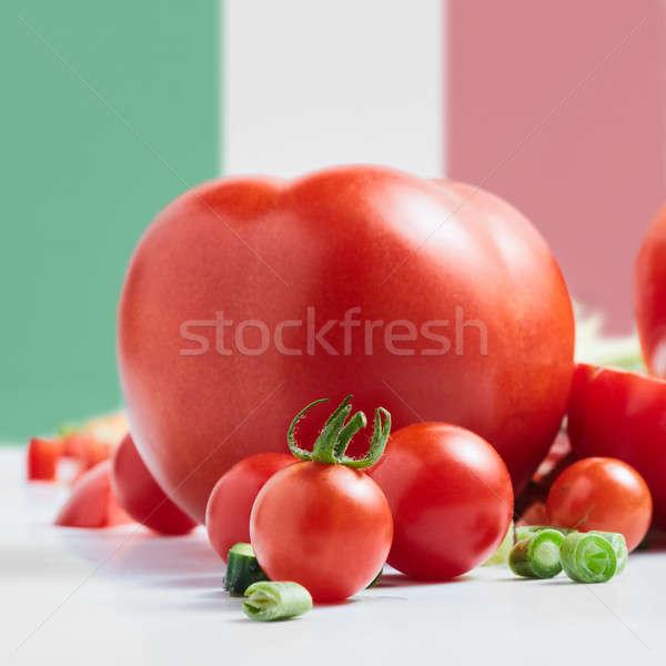 Traditional Italian flag with tomatoes Stock photo © artjazz