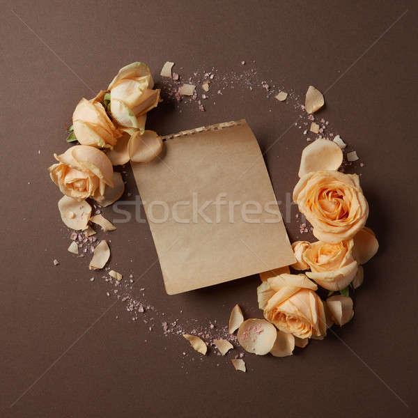 Round frame of roses Stock photo © artjazz