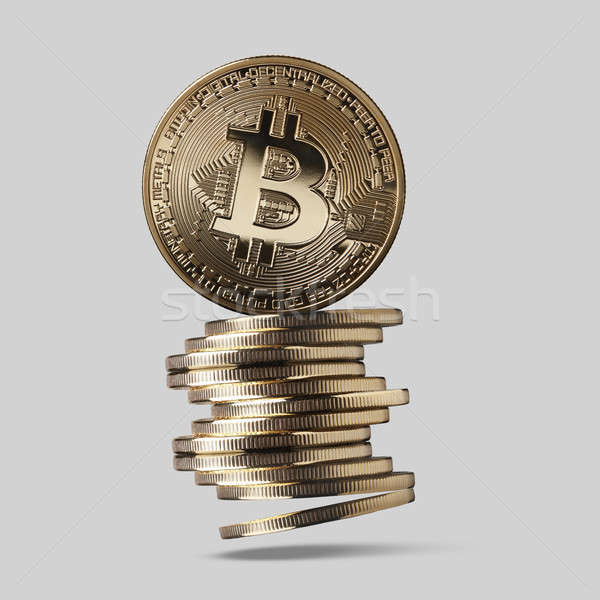 Bitcoin is a gold coin and a stack of crypto-currencies Stock photo © artjazz