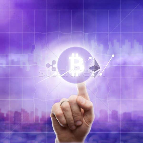 圖標 bitcoin的 波紋 紫色 城市 手 商業照片 © artjazz
