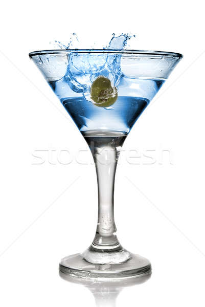 Blue alcohol cocktail with splash isolated on white Stock photo © artjazz