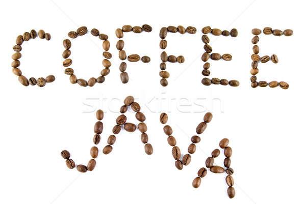 кофе Ява слов изолированный белый кадр Сток-фото © artjazz