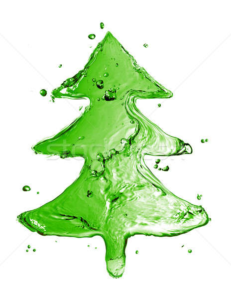 green fir tree from water splash isolated on white Stock photo © artjazz