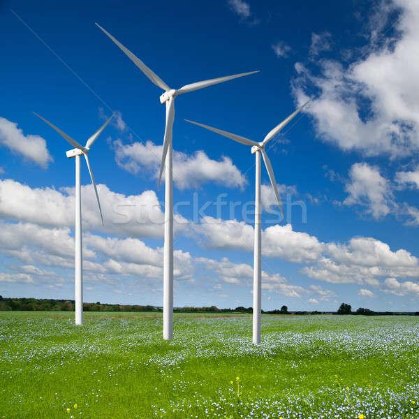 Vent générateur turbine printemps paysage arbre Photo stock © artjazz