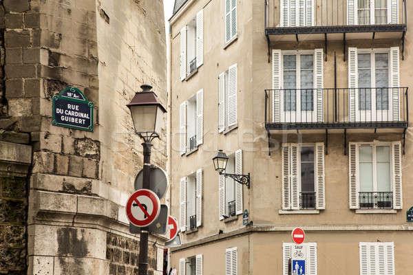Párizsi utca fotó klasszikus építészet épületek Stock fotó © artjazz