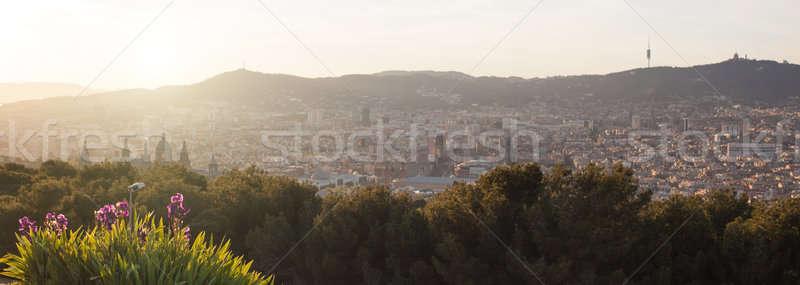 Panorama Barcelona pôr do sol ver cidade paisagem Foto stock © artjazz