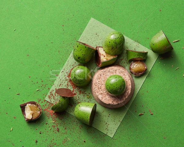 Rotto candy gelatina verde alimentare bar Foto d'archivio © artjazz