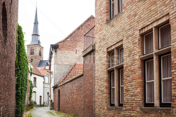 Edad calle Bélgica medieval edificios casas Foto stock © artjazz