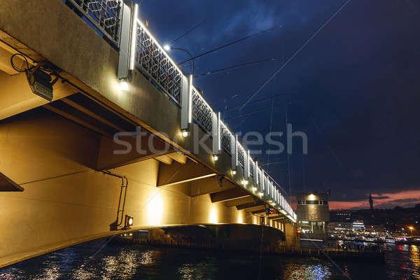 panoramic view of the bridge at night Turkey Istanbul Stock photo © artjazz