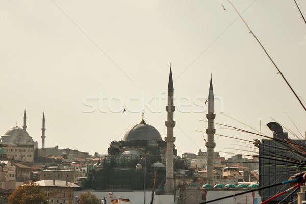 Stock fotó: Kék · mecset · Isztambul · Törökország · kilátás · híd