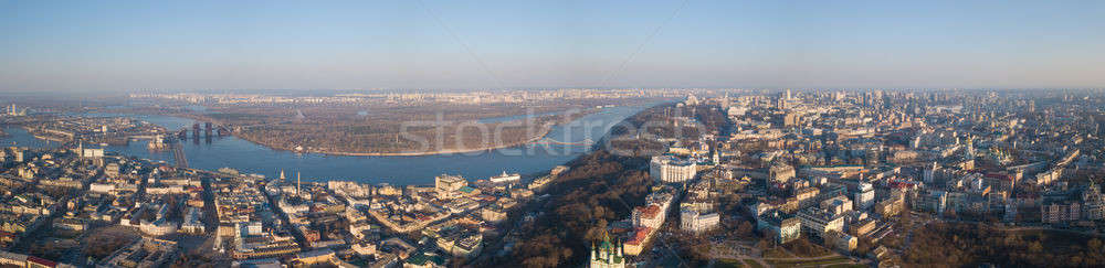 Panorama of Kiev, District Podol and the left bank, the Dnieper River on an April sunny day, Ukraine Stock photo © artjazz