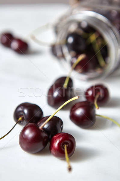Home grown natural fresh cherries with shallow depth of field. Ingredients for sweet berries pie on  Stock photo © artjazz