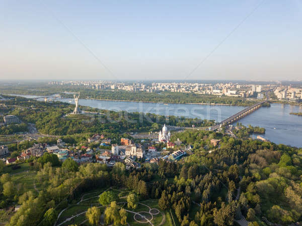 Aerial view beautiful panorama of the city of Kiev, a botanical garden and the Dnieper river against Stock photo © artjazz