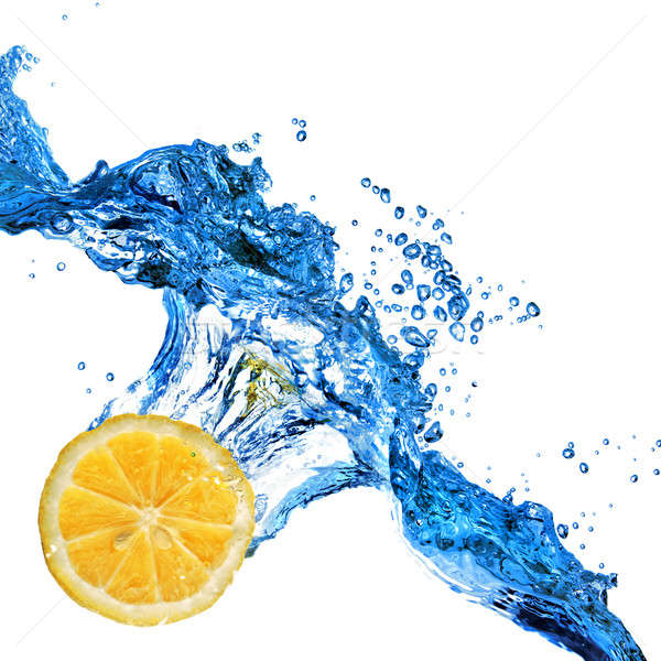 orange dropped in to water with splash isolated on white Stock photo © artjazz
