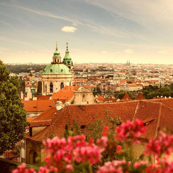 Vue Prague été ciel arbre bâtiment Photo stock © artjazz
