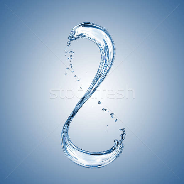 water splash in shape of number 8 on blue Stock photo © artjazz