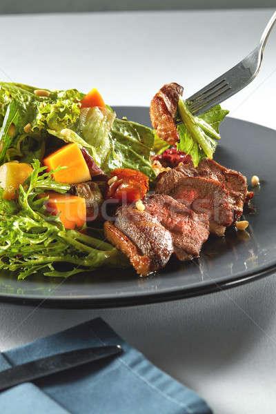 Stok fotoğraf: Salata · kabak · beyaz · ördek · et · çatal