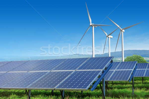 Stockfoto: Zonnepanelen · blauwe · hemel · zomer · landschap · gras