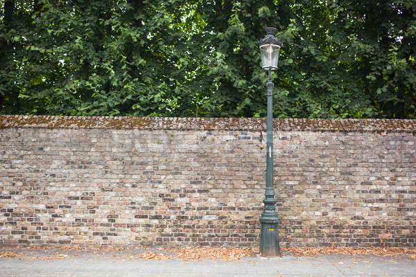 Lampe post rue mur de briques texture Photo stock © artjazz