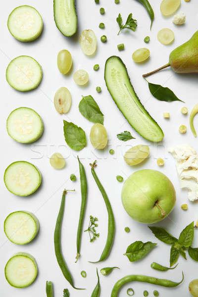 Stok fotoğraf: Yeşil · sağlıklı · gıda · beyaz · vejetaryen · malzemeler