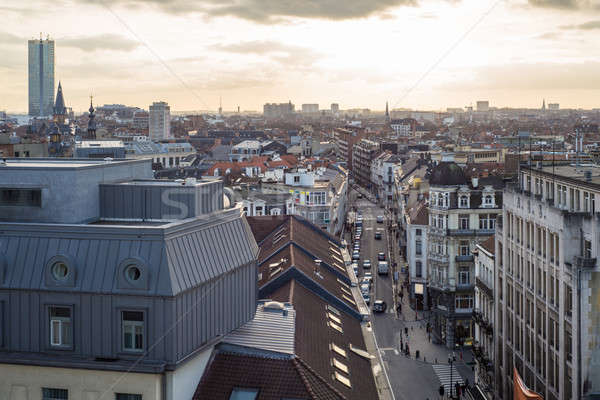 Aerial view of old worker's district Marolles in Brussels Stock photo © artjazz
