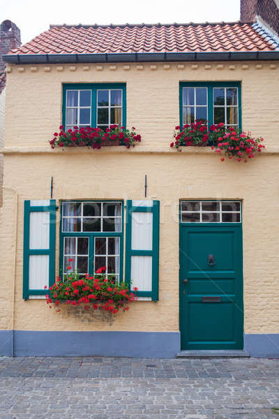 Old town building with door and flowers in windows. Stock photo © artjazz