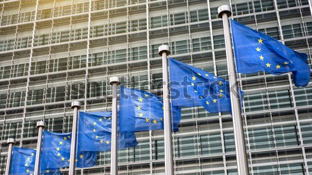 European flags in front of the Berlaymont building Stock photo © artjazz