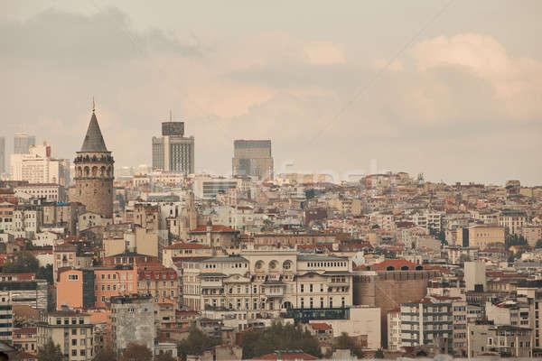 View città Istanbul altezza torre tramonto Foto d'archivio © artjazz