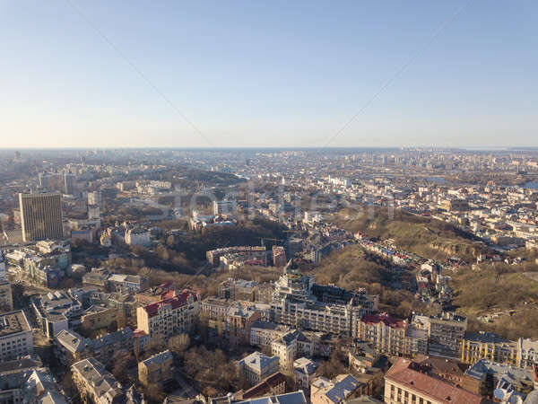 Beautiful panoramic view of Kiev, Vozdvizhenka district. Drone photograph Stock photo © artjazz