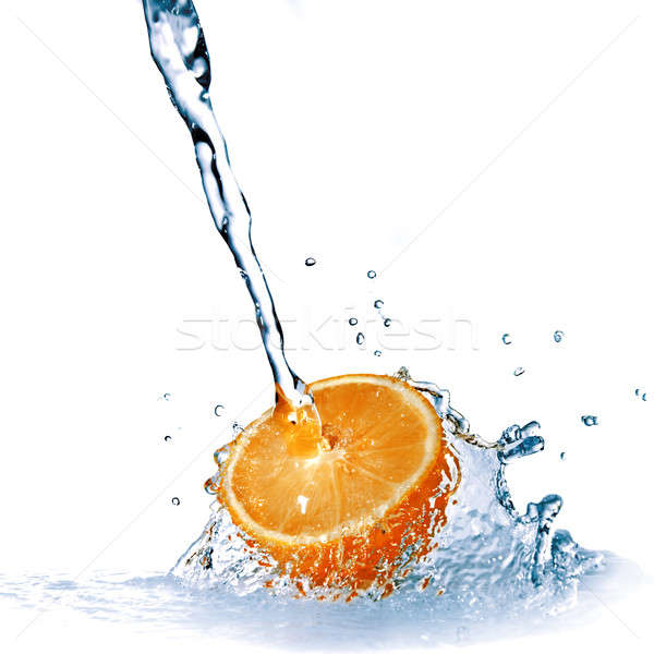 fresh water drops on orange isolated on white Stock photo © artjazz