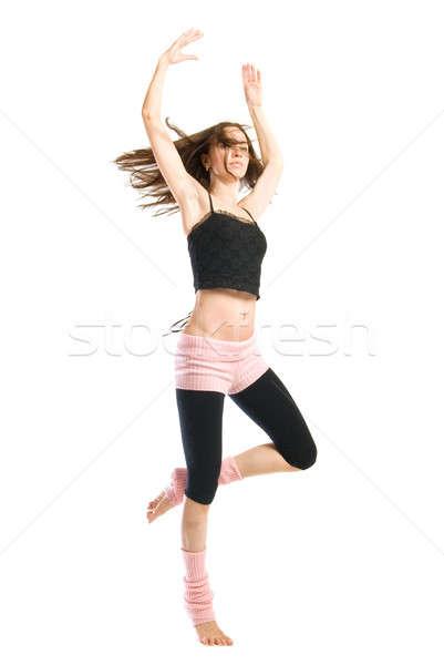 Stok fotoğraf: Poz · genç · dansçı · yalıtılmış · beyaz · kadın