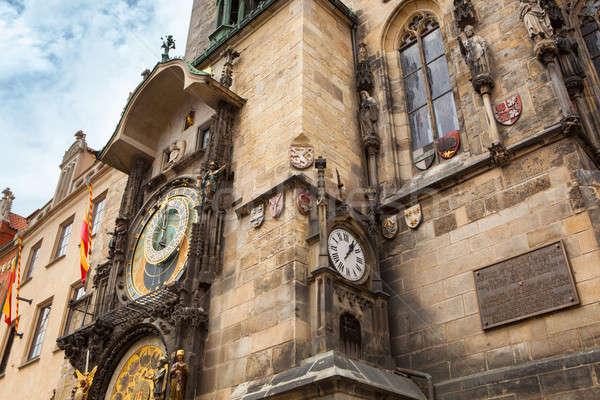 башни астрономический часы Прага цветы дерево Сток-фото © artjazz