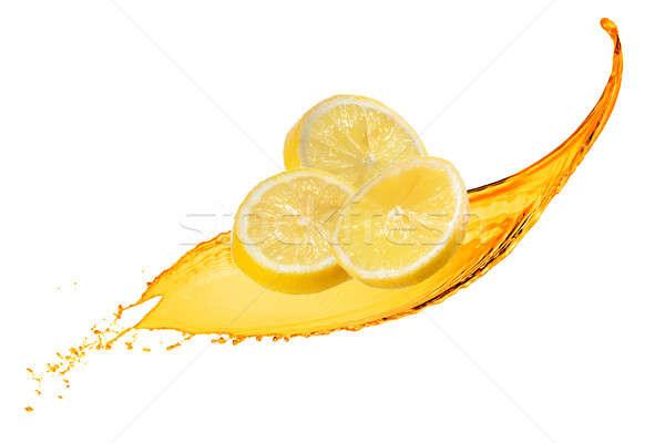 Stok fotoğraf: Düşen · dilimleri · limon · meyve · suyu · sıçrama · yalıtılmış
