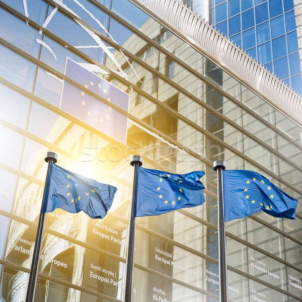 Européenne Union pavillon parlement Bruxelles Belgique Photo stock © artjazz