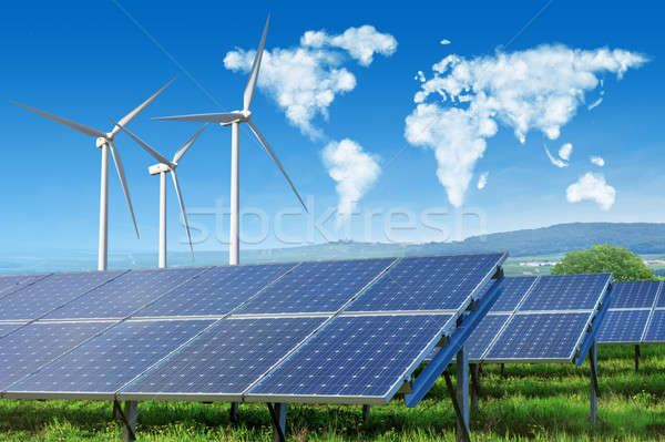 solar panels and wind turbines with world map Stock photo © artjazz