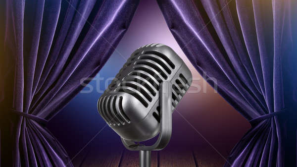 stage with open curtains and microphone Stock photo © artjazz