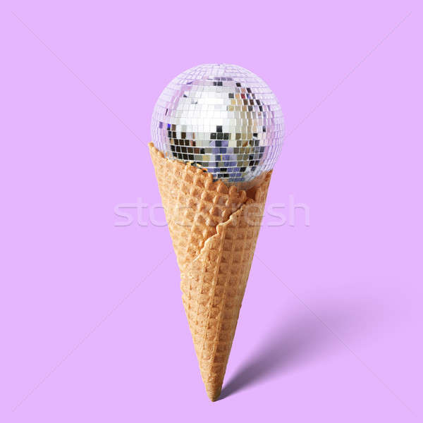 Waffle cornet with disco ball Stock photo © artjazz