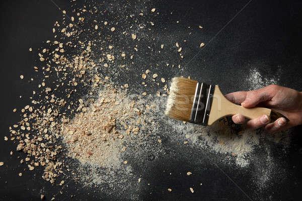 Ecset zab pelyhek liszt kéz fekete Stock fotó © artjazz