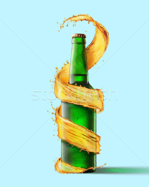 A green beer bottle and a splash Stock photo © artjazz