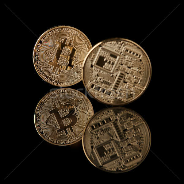 Bitcoin coin isolated on black background Stock photo © artjazz