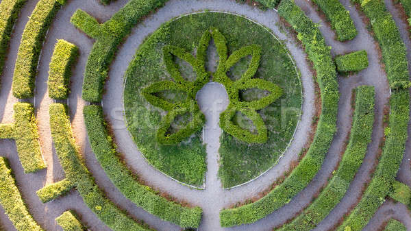 Aerial view of the symmetrical round form of the labyrinth from the cut bushes. Photo from the drone Stock photo © artjazz